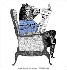 Bear Sitting On A Chair And Reading Newspaper In Sweater Delicate Handwork