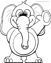 Elephant Waving Hello Color Page Free Printable Coloring Sheets