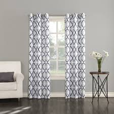 J Queen New York Curtains by Big One Leon Semi Sheer Trellis Scroll Window Curtain Set