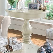 Paula Deen Home Round Wood Pedestal Side Table Linen