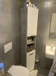 badezimmer schrank wie neu weiß lack grau