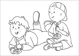 Caillou Playing Video Game Coloring Pages