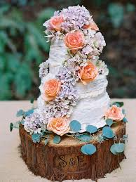 Small Rustic Wedding Cake With Wood Stand