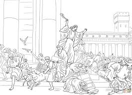 Jesus Cleansing The Temple Coloring Page In