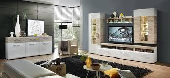 wohnzimmer komplettset 18449 wohnkombination set weiß hochglanz sandeiche