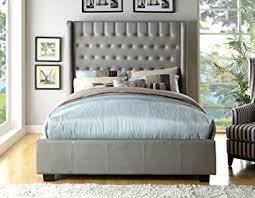 amazon com furniture of america minka leatherette platform bed