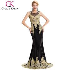 Grace Karin 2016 New Sleeveless Golden Appliques Long Black Evening Dress Latest Party Gowns Designs GK000026