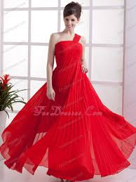 one shoulder red pleated long chiffon prom dress