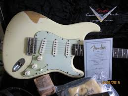 Now Back Up With Much Reduced Cash Price Superb 62 Olympic White Dark Rosewood Board Fender Custom Shop Relic Stratocaster A Limited Edition