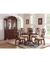 Formal Traditional Dining Room 5pc Set Cherry Wood Finish Round Table Accent Floral Pattern