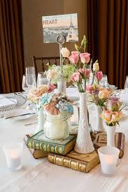 Mix Up Real Flowers With Crafted Ones And Gilded Old Books For This Fab Centerpiece Vintage WeddingFake