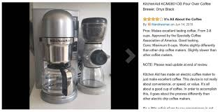 Scaa Certified Coffee Makers KitchenAid Pour Over Brewer