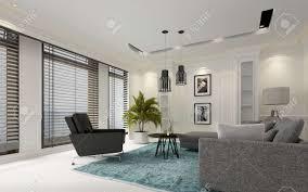 moderne weiße luxus wohnzimmer mit jalousien auf einer reihe großen fenstern bequemen grauen sofa und sessel unten lichter 3d rendering