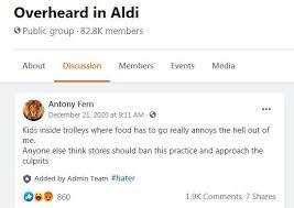 aldi kunde beschwert sich über kinder im einkaufswagen und