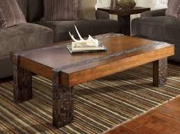 Coffee Table Beautiful Wooden Rustic Design Featuring Stripes Rug And Microfiber Sofa Round Wood Iron