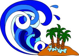Tidal Wave Clipart Image Cartoon Tsunami Overtaking an Island