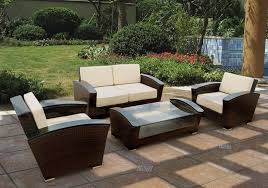 Outdoor 4 Piece Chocolate Wicker Sofa Set TOS GW0045SET