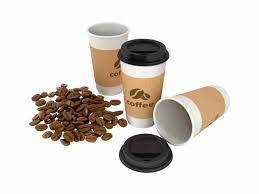 Paper Coffee Cups With Beans Without Shadows On White 3d