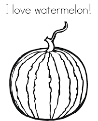 I Love Watermelon Fruit Coloring Pages