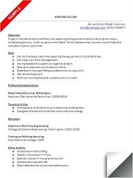 Maintenance Supervisor Resume Objective For Mechanic Technician Electrical Manager Pdf