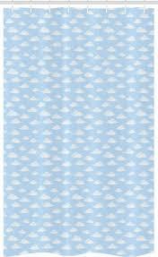 abakuhaus duschvorhang badezimmer deko set aus stoff mit haken breite 120 cm höhe 180 cm blauer himmel wolkenloser himmel fluffy clouds