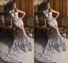 2015 mermaid wedding dresses crew pearls appliques illusion