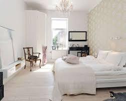 BedroomCool Scandinavian Bedroom Decor With White Fabric Bedsheet And Beautiful Chandelier Also Modern Wallpaper