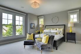 Yellow And Gray Bedroom Design