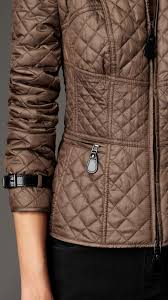 burberry corset detail quilted jacket in brown lyst