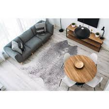 teppich fell tierfell optik grau weiß silber wohnzimmer größen 160x220cm