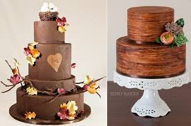 Tree Bark Effect Wedding Cakes By Vanille Patisserie Chicago Left Miso Bakes Right