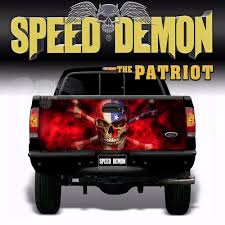 100 Speed Demon Trucks American Flag Skull TAILGATE WRAP Vinyl Graphics Decal Sticker Truck