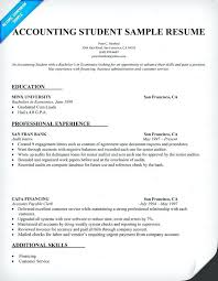 Accounting Student Resume Examples Sample For Internship Example Resumes Samples Best