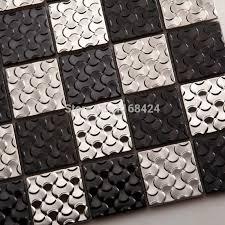 silber schwarz edelstahl mosaik fliesen ehm1053 für küche baclesksplash fliesen badezimmer dusche mosaik fliesen wandabdeckung