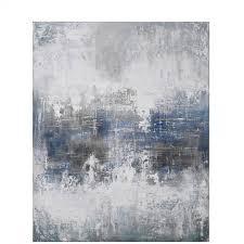 großes abstraktes ölbild wandbild in blau und grautönen