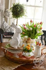 Dining Room Table Decorating Ideas For Spring by Spring Decor Pinspiration Fresh Flowers Rabbit And Monograms