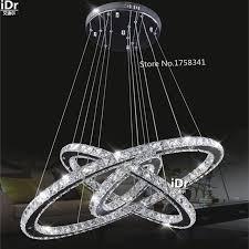 fernbedienung modernen minimalistischen edelstahl 3 kreise kristall le wohnzimmer lobby restaurant schlafzimmer ringe 145 watt led kronleuchter