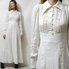 70s Vintage CHEESECLOTH Off White Dress CROCHET Lace Trim Puff Sleeve Long Maxi Cotton Prairie Boho
