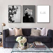 moderne mode blume frau leinwand malerei schwarz weiß