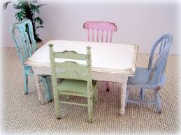 Dollhouse Miniature Shabby Cottage Kitchen Table And Chairs