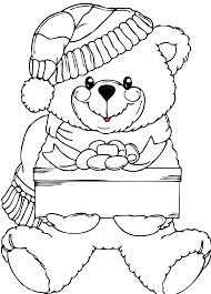 Christmas Bear Wih Present Black White Line Art Xmas Teddy Stuffed Animal Coloring Book Colouring 1969px 468K