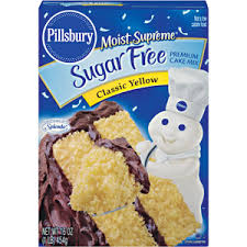 Pillsbury Sugar Free Cake Mix is delicious I substitute oil with applesauce to make it