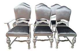1950s Art Nouveau Silver And White Dining Chairs - Set Of 6 | Chairish Set Of 8 Vintage Midcentury Art Nouveau Style Boho Chic Italian Stunning Of Six Inlaid Mahogany High Back Chairs 2 Pair In Antiques Atlas Lhcy Solid Wood Ding Chair Armchair Lounge Nordic Style A Oak Set With Table Seven Chairs And A Side Ding Suite Extension Table France Side In Leather Chairish Gauthierpoinsignon French By Gauthier Louis Majorelle Caned An Edouard Diot Art Nouveau Walnut And Brass Ding Table Four 1930s American Classical Shieldback 4
