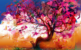 Red Tree Painting Wallpaper PC