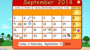 100 Starfall 3 Calendar September 2018