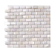 splashback tile pitzy brick castel monte white pearl mini