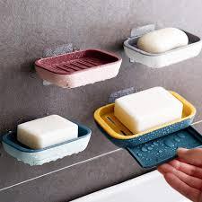 4 stück seifenschale behälter reise halter abnehmbar und wiederverwendbar selbstklebende wand seifenschale für badezimmer dusche seifenablage brasket
