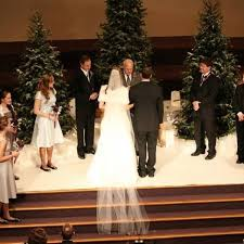 Winter Wonderland Wedding Real Christmas Trees Throughout The Whole Church And Reception Area