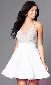white fit and flare party dress with lace promgirl