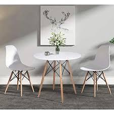 h j wedoo skandinavien esszimmergruppe mit rund esstisch und 2 essstühlen geeignet für esszimmer küche wohnzimmer weiß